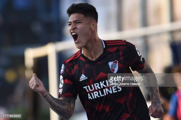 Jorge Carrascal of River Plate celebrate his goal during a match between Gimnasia y Esgrima La Plata and River Plate as part of Superliga Argentina...