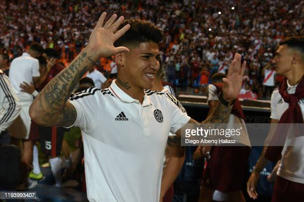 Jorge Carrascal of River Plate celebrate the title obtained in the final of Copa Argentina 2019 between Central Cordoba and River Plate at Estadio...