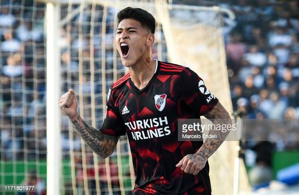 Jorge Carrascal of River Plate celebrates after scoring the first goal of his team during a match between Gimnasia y Esgrima La Plata and River Plate...