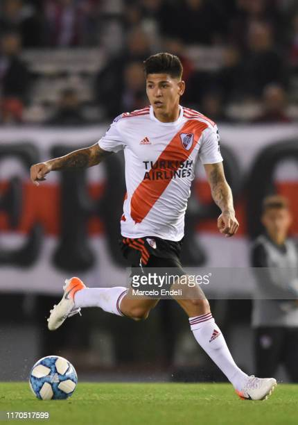Jorge Carrascal of River Plate drives the ball during a match between River Plate and Talleres as part of Superliga 2019/20 at Estadio Monumental...
