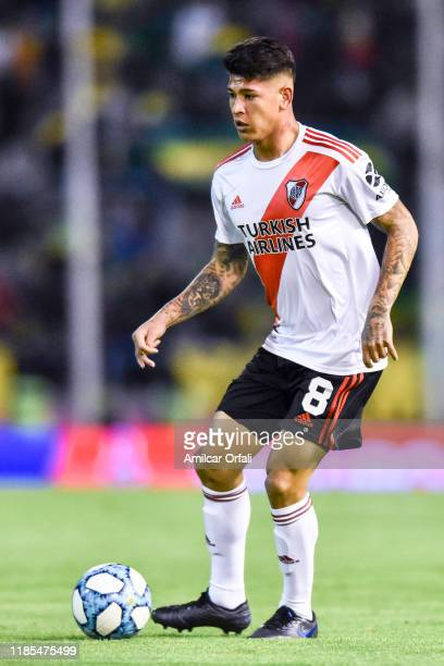 Jorge Carrascal or River Plate drives the ball during a match between Aldosivi and River Plate as part of Superliga Argentina 2019/20 at Estadio Jose...