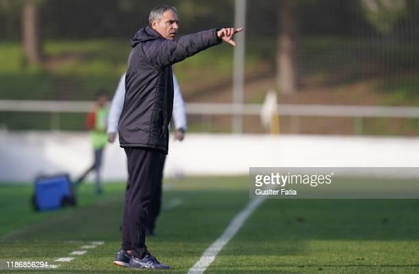 Jorge Casquilha of CD Cova da Piedade in action during the Liga Pro match between CD Cova da Piedade and UD Vilafranquense at Estadio Municipal Jose...