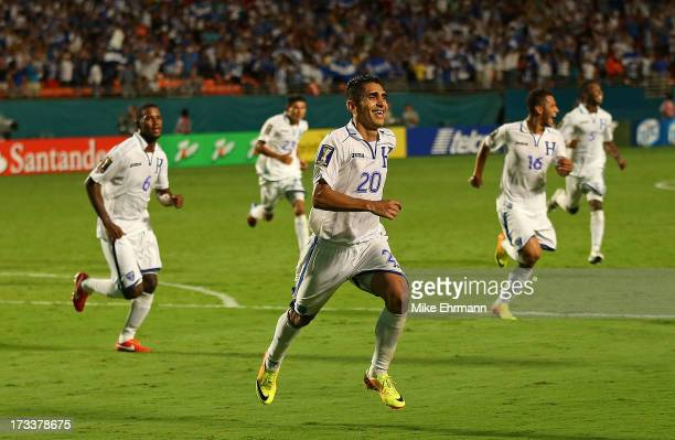 Jorge Claros Juarez of Honduras celebrates an extra time goal during a CONCACAF Gold Cup game against EL Salvador at Sun Life Stadium on July 12 2013...