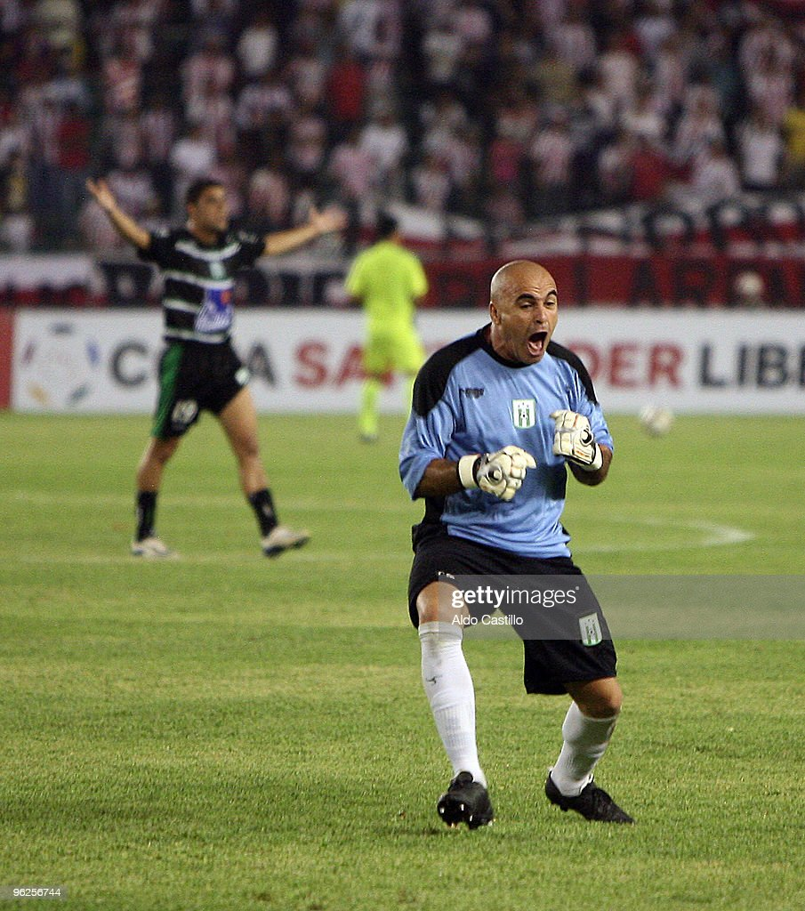Jorge Contreras the goalkeeper of Uruguay's Racing Club celebrates a goal against Colombia's Atletico Junior during their match as part of the Santander Libertadores Cup 2010 at Metropolitano Roberto Melendez Stadium on January 28, 2010 in Barranquilla, Colombia.