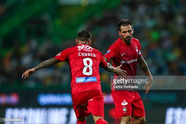 Jorge Correa of CS Maritimo celebrates scoring CS Maritimo goal with Danny of CS Maritimo during the Portuguese League Cup match between Sporting CP...