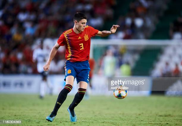 Jorge Cuenca of Spain U21 in action during the international friendly between Spain U21 and Germany U21 at Nuevo Arcangel on October 10, 2019 in...