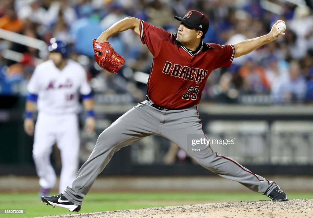 Jorge De La Rosa #29 of the Arizona Diamondbacks delivers a pitch in the sixth inning against the New York Mets on August 23, 2017 at Citi Field in the Flushing neighborhood of the Queens borough of New York City.