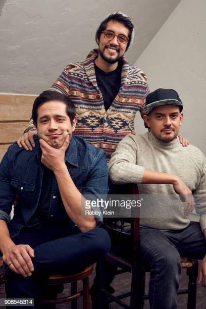 Jorge Diaz Carlos Lopez Estrada and Cesar Mazariegos from the film 'High Mighty' poses for a portrait in the YouTube x Getty Images Portrait Studio...