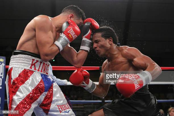 Jorge Diaz lands a left hand against Yenifel Vicente at the South Mountain Arena in South Orange NJ on June 14 2013 Vicente would win by tko in the...