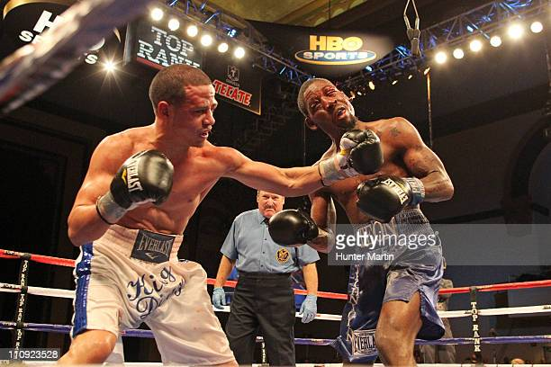 Jorge Diaz punches Teon Kennedy during their USBA Super Bantamweight bout during Top Rank's 'Featherweight Fury' on March 26 2011 at Boardwalk Hall...