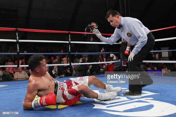 Jorge Diaz receives a 10 count from referee at the South Mountain Arena in South Orange NJ on June 14 2013 Vicente would win by tko in the fourth...