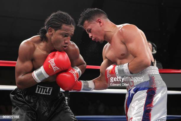 Jorge Diaz throws a right hand against Yenifel Vicente at the South Mountain Arena in South Orange NJ on June 14 2013 Vicente would win by tko in the...