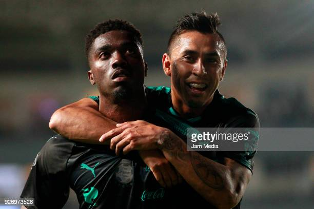 Jorge Djaniny Tavares and Jesus Isijara celebrate during the 10th round match between Necaxa and Santos Laguna as part of the Torneo Clausura 2018...