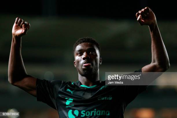 Jorge Djaniny Tavares celebrates after scoring the first goal of his team during the 10th round match between Necaxa and Santos Laguna as part of the...