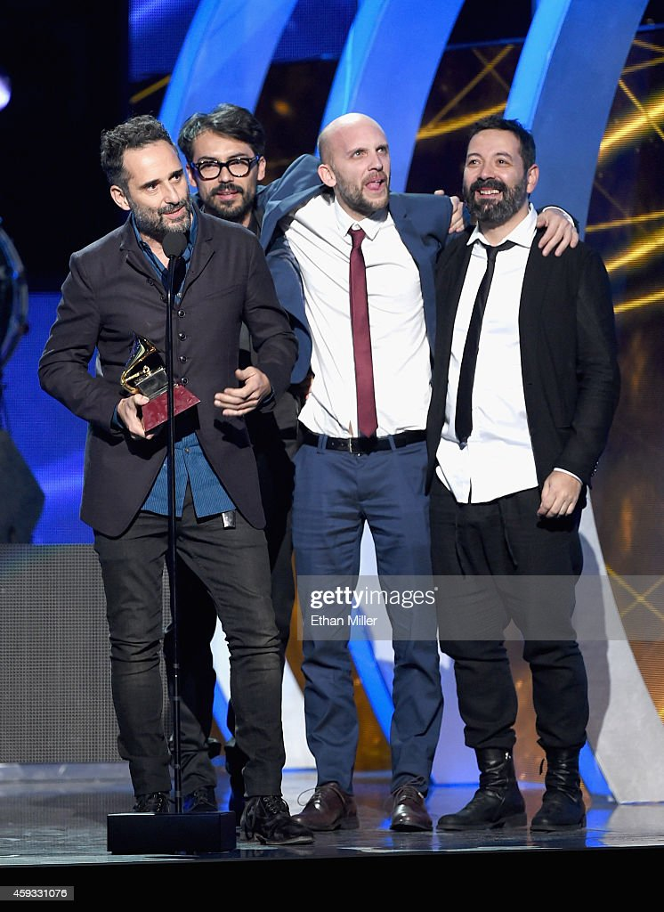 Jorge Drexler (L) accepts the Grammy for Record of the Year onstage during the 15th Annual Latin GRAMMY Awards at the MGM Grand Garden Arena on November 20, 2014 in Las Vegas, Nevada.