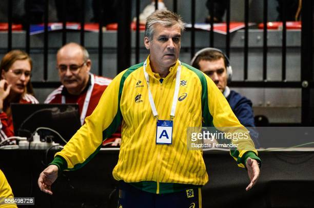 Jorge Duenas head coach of Brazil during the handball women's international friendly match between France and Brazil on October 1 2017 in...