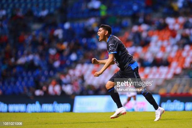 Jorge Espericueta of Puebla celebrates a scored goal during the 12th round match between Puebla and Lobos BUAP as part of the Torneo Apertura 2018...