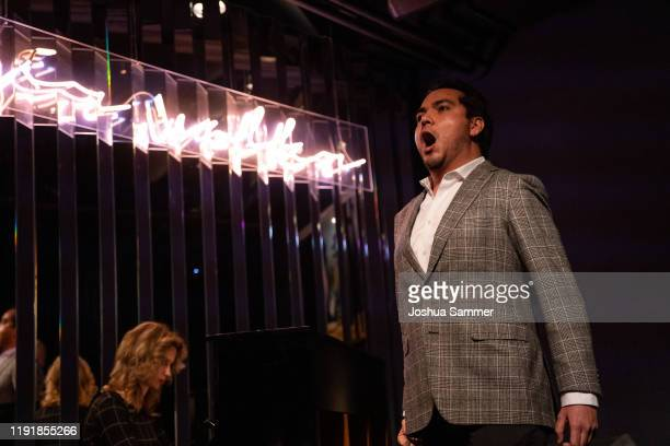 Jorge Espino performs during the press event One Bellini with Rolando Villazon on the occasaion of the new staging of the Bellini opera I puritani at...