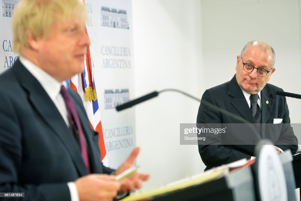U.K. Foreign Secretary Boris Johnson And Argentina's Foreign Affairs Minister Jorge Faurie Hold Press Conference On The Sidelines of G20