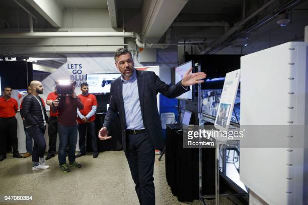 Jorge Fernandes chief technology officer of Rogers Communications Inc speaks next to a a Massive Mimo transmitter during a demonstration of 5G...