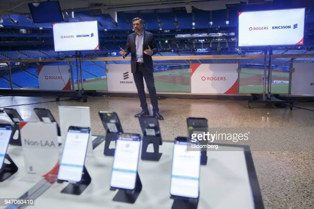 Jorge Fernandes chief technology officer of Rogers Communications Inc speaks during a demonstration of 5G wireless network technology in Toronto...