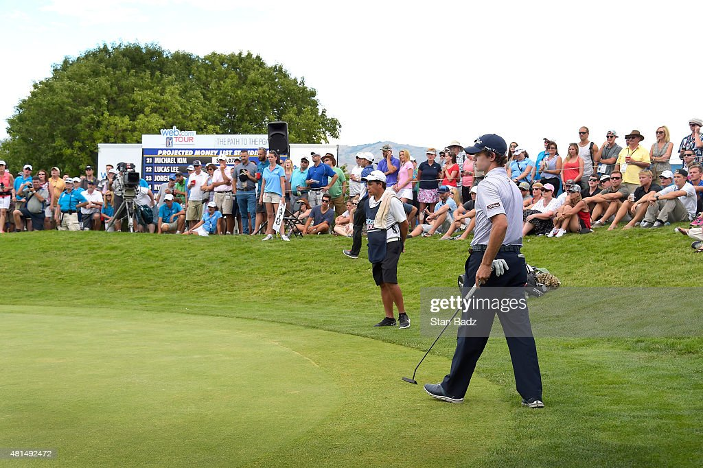 Jorge FernandezValdes studies his putt on the 18th hole during the final round of the Web.com Tour Albertsons Boise Open presented by Kraft Nabisco at Hillcrest Country Club on July 12, 2015 in Boise, Idaho.