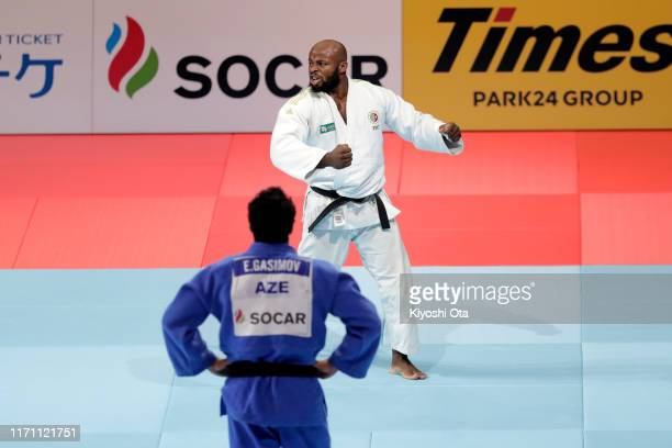 Jorge Fonseca of Portugal celebrates the victory over Emlar Gasimov of Azerbaijan in the Men's -100kg semi-final on day six of the World Judo...