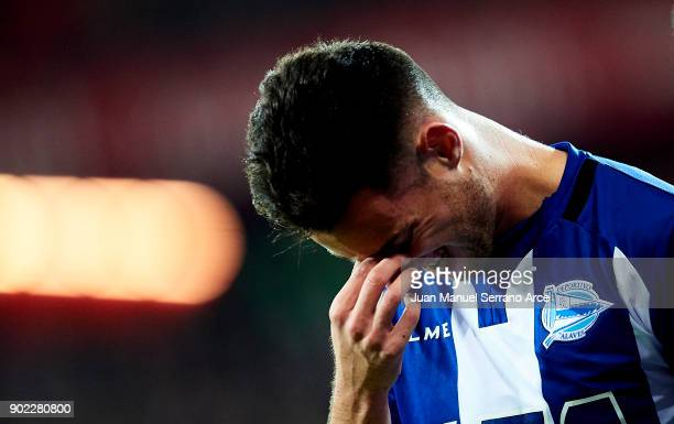 Jorge Franco 'Burgui' of Deportivo Alaves reacts during the La Liga match between Athletic Club Bilbao and Deportivo Alaves at San Mames Stadium on...