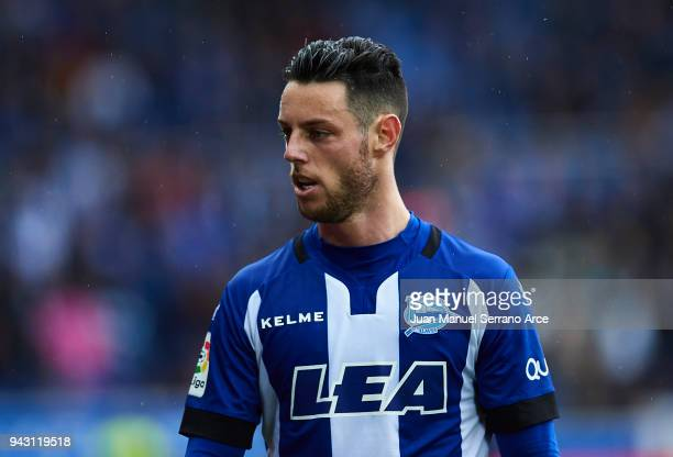 Jorge Franco 'Burgui' of Deportivo Alaves reacts during the La Liga match between Deportivo Alaves and Getafe CF at Mendizorroza stadium on April 7...