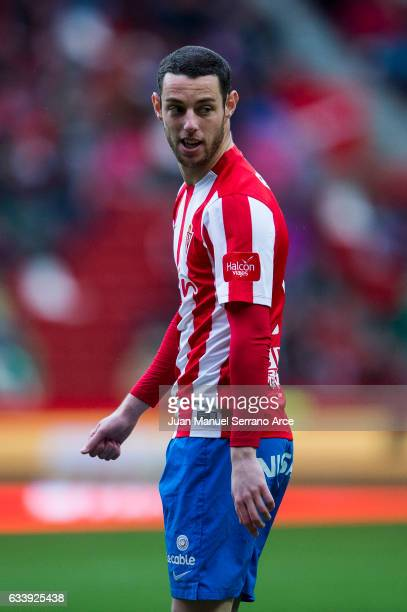 Jorge Franco 'Burgui' of Real Sporting de Gijon reacts during the La Liga match between Real Sporting de Gijon and Deportivo Alaves at Estadio El...