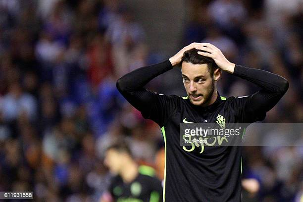 Jorge Franco quotBurguiquot of Sporting de Gijon reacts during the La Liga Santander match between Real Club Deportivo de La Coruna vs Real Sporting...