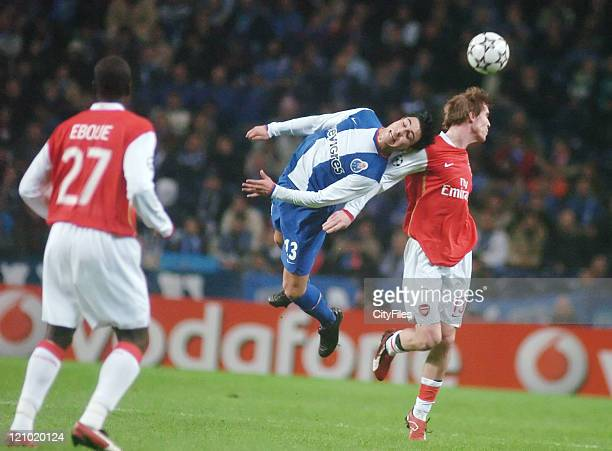 Jorge Fucile of Porto in action against Alexander Hleb of Arsenal during the UEFA Champions League Group G match between FC Porto and Arsenal at...
