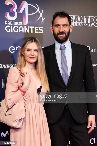 Jorge Garbajosa and wife Alejandra Dominguez attend 'Premios Gigantes' 2019 at Palacio de la Prensa Cinema on February 11 2019 in Madrid Spain