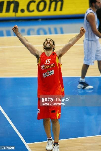 Jorge Garbajosa of Spain celebrates against Greece during the 2006 FIBA World Championship Final Round on September 3, 2006 at the Saitama Super...
