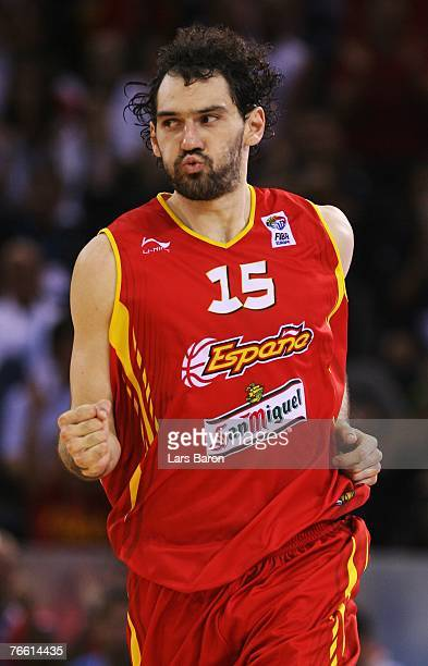 Jorge Garbajosa of Spain celebrates during the FIBA EuroBasket 2007 qualifying round Group E match between Russia and Spain at the Telefonica Arena...