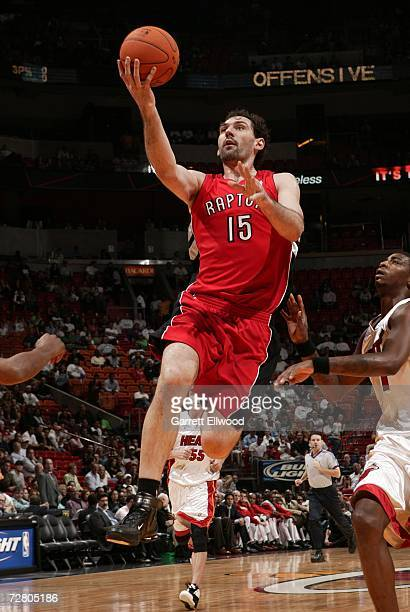 Jorge Garbajosa of the Toronto Raptors goes to the basket against the Miami Heat at the America Airlines Arena December 11 2006 in Miami Florida NOTE...