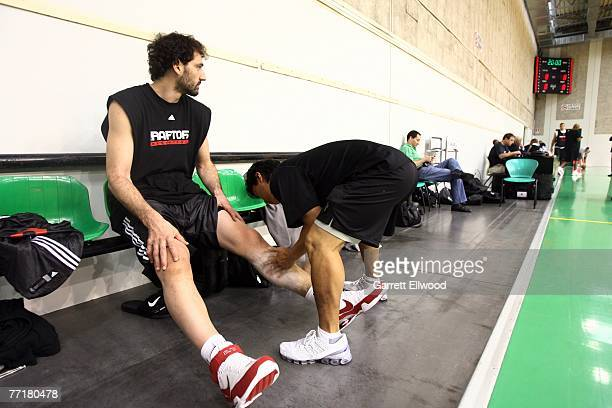 Jorge Garbajosa of the Toronto Raptors receives treatment prior to practice as part of the 2007 NBA Europe Live Tour on October 4, 2007 at the La...