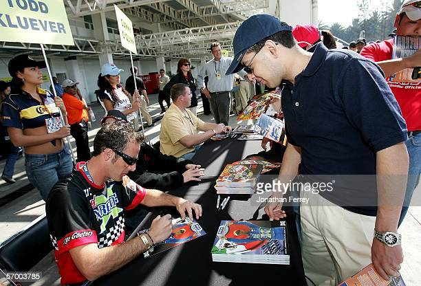 Jorge Goeters, driver of the ScotiaBank/gel Xtreme Ford, signs autographs before the NASCAR Busch Series Telcel-Motorola 200 on March 5, 2006 at...