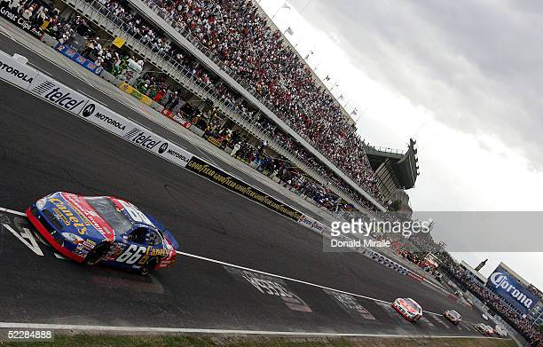 Jorge Goeters of Mexico drives his Canels/Scotia Bank Ford Taurus during the Telcel Mexico 200 Nascar Busch Series Race at the Autrodromo Hermanos...