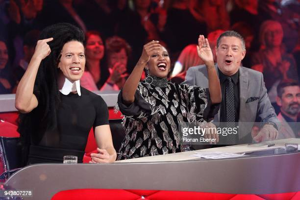 Jorge Gonzalez, Motsi Mabuse and Joachim Llambi during the 3rd show of the 11th season of the television competition 'Let's Dance' on April 6, 2018...
