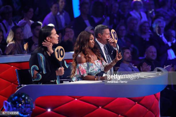 Jorge Gonzalez, Motsi Mabuse and Joachim Llambi during the 5th show of the tenth season of the television competition 'Let's Dance' on April 21, 2017...