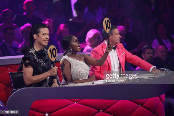 Jorge Gonzalez Motsi Mabuse and Joachim Llambi during the finals of the 11th season of the television competition 'Let's Dance' on June 8 2018 in...