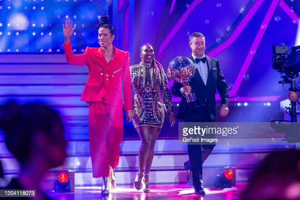 Jorge Gonzalez Motsi Mabuse and Joachim Llambi Eckstossc during the 1st show of the 13th season of the television competition Let's Dance on February...
