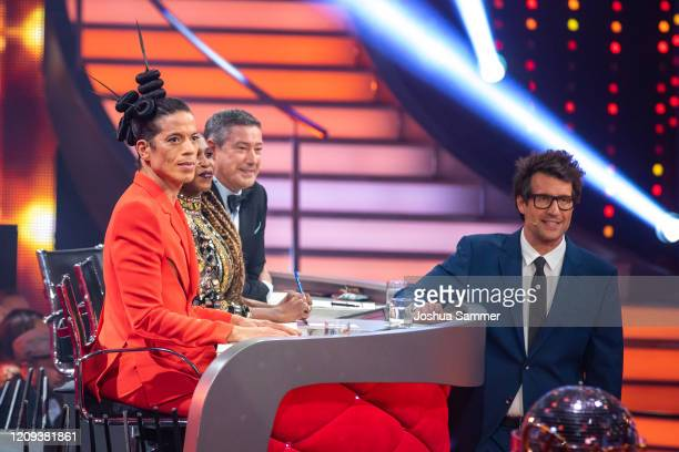 """Jorge Gonzalez, Motsi Mabuse, Joachim Llambi and Daniel Hartwich on stage during the 1st show of the 13th season of the television competition """"Let's..."""