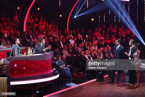 Jorge Gonzalez Motsi Mabuse Joachim Llambi Daniel Hartwich Niels Ruf and Oti Mabuse are seen on stage during the 2nd show of the television...