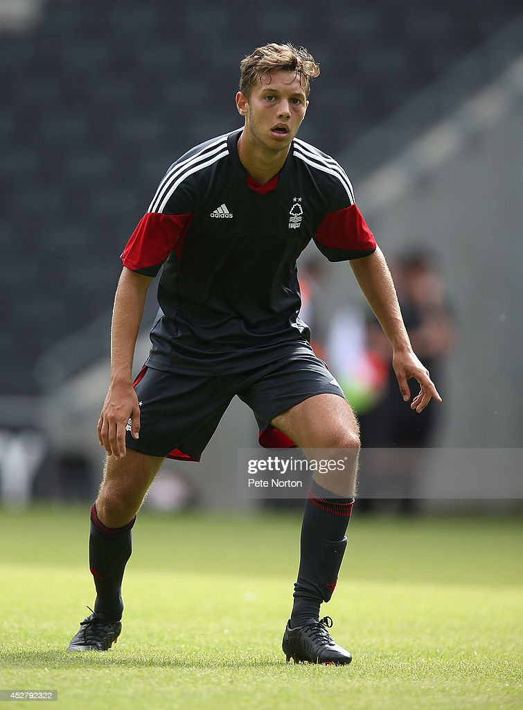 Jorge Grant of Nottingham Forest in action during the Pre-Season Friendly match between MK Dons and Nottingham Forest at Stadium mk on July 27, 2014 in Milton Keynes, England.