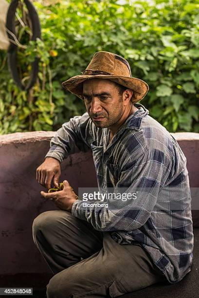 Jorge Graterol who makes his living cutting eucalyptus for packages used in floral displays speaks during an interview at his home in Culebrilla...