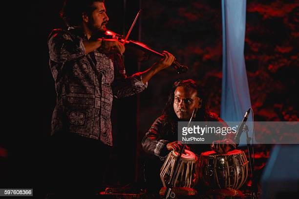 Jorge Guillen violin and Nantha Kumar percussion perform with Ara Malikian during the cultural summer nights at Cathedral square in Zamora northwest...