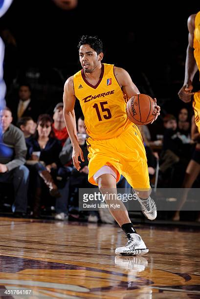 Jorge Gutierrez of the Canton Charge brings the ball up the court against the Delaware 87ers at the Canton Memorial Civic Center on November 23 2013...