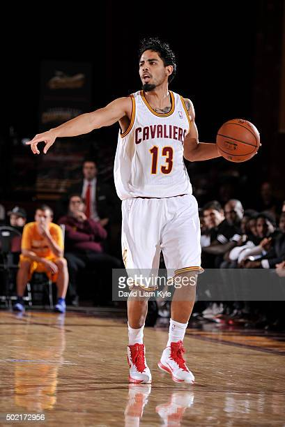 Jorge Gutierrez of the Canton Charge calls out the play as he brings the ball up the court against the Erie BayHawks at the Canton Memorial Civic...
